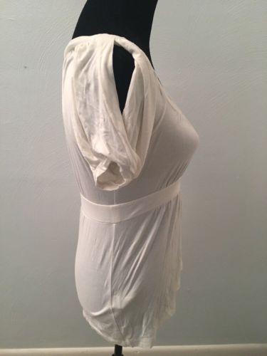 BCBG Max Azria Women's Top Size Small Ivory Short Sleeve Babydoll