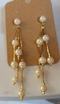 Vintage Long Faux Pearl Dangle Earrings Special Occasion - $18.80
