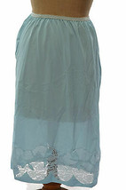 Vintage 1960s Contessa Womens Light Blue Nylon Slip Floral Lace Trim Siz... - $17.63