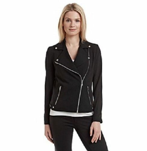 CALVIN KLEIN Size 4 Knit Moto Jacket BLACK