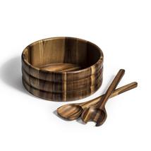 Salad Bowl  with Servers - 3 Piece Set, Acacia wood bowl, Wood salad bowl - $39.95