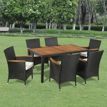 vidaXL Garden Dining Set 13 Piece Acacia Poly Rattan Wicker Outdoor Furn... - $464.99