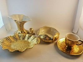Vintage Weeping Bright Gold 22k-24k Decorative Set - $59.39