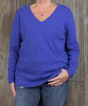 Eddie Bauer 2xl Top Blue Vneck Soft Womens Outdoor Shirt Casual Cotton Blouse - $17.82