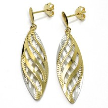 """18K YELLOW WHITE GOLD PENDANT EARRINGS WORKED WAVY DOUBLE OVAL LEAF 4.5cm, 1.8"""" image 1"""