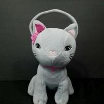 "Gymboree Gray KItten Cat Coin Purse Plush Stuffed Valentines Pink Heart Nose 9"" - $19.79"