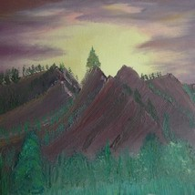 """VTG Canvas Hand Painted Picture 14X11"""" Mountains Wall Art Beach House Si... - $10.06"""
