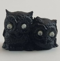 "Owl Pair Vintage Miniature Coal Figurine Googly Eyes 1980 1 1/2"" x 2"" x ... - $6.99"