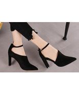89h183 sweet ankle strappy pump, suede leather, Size 4-8, black - $68.80