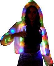 LED Jacket Light Up Rave Stage Faux Fur Coat image 2