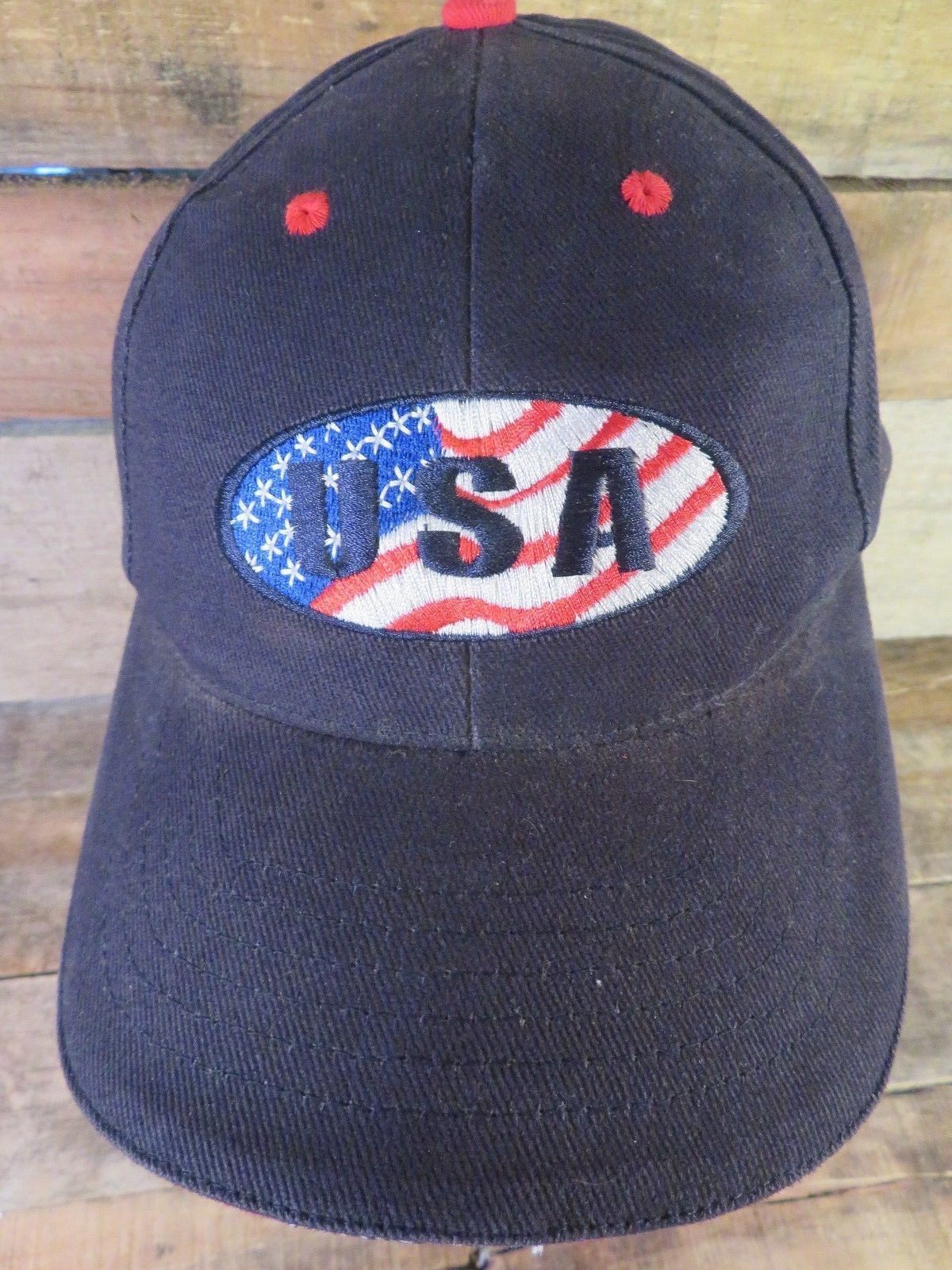 Primary image for USA United States of America Red White Blue Adjustable Strapback Adult Hat Cap