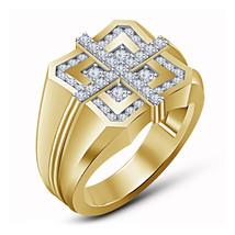 Clock Style Diamond Ring 14k Yellow Gold Finish 925 Silver Mens Engageme... - $94.99
