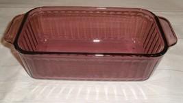 Vintage Cranberry Vision Ribbed Pyrex Loaf Pan 1.5 quart 213-8 purple - $24.72