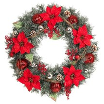 Home Accents Holiday 30 in. Poinsettia and Pine Artificial Wreath - $38.95
