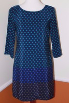 Old Navy XS Women's Blue Ombre Polka Dot 3/4 Sleeve Shift Dress with Bac... - $21.49