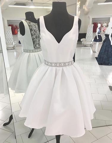 Cute white beads short prom dresses, homecoming dresses,PD0805