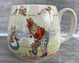 Royal Doulton Bunnykins Childs Mug Cup Wheelbarrow Gardening Scene - $14.99
