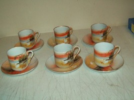 vintage Demitasse/Espresso cup & saucer Takito Japan 12 piece set tree i... - $9.89