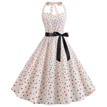 Halter backless polka dot printed Women's retro A-line pendulum Dresses ... - $35.00
