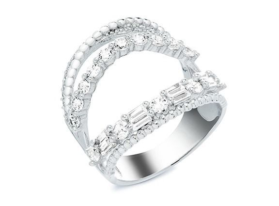 Pave-Round-Baguette 5A CZ Open Chevron Sterling Silver Knuckle Ring-Vermeil-wOw - $49.99