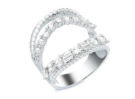 Pave-Round-Baguette 5A CZ Open Chevron Sterling Silver Knuckle Ring-Verm... - $49.99