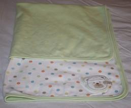 Carters Baby Blanket Teddy Bear I LOVE HUGS Polka Dot Baby 2-ply Knit Cr... - $20.29