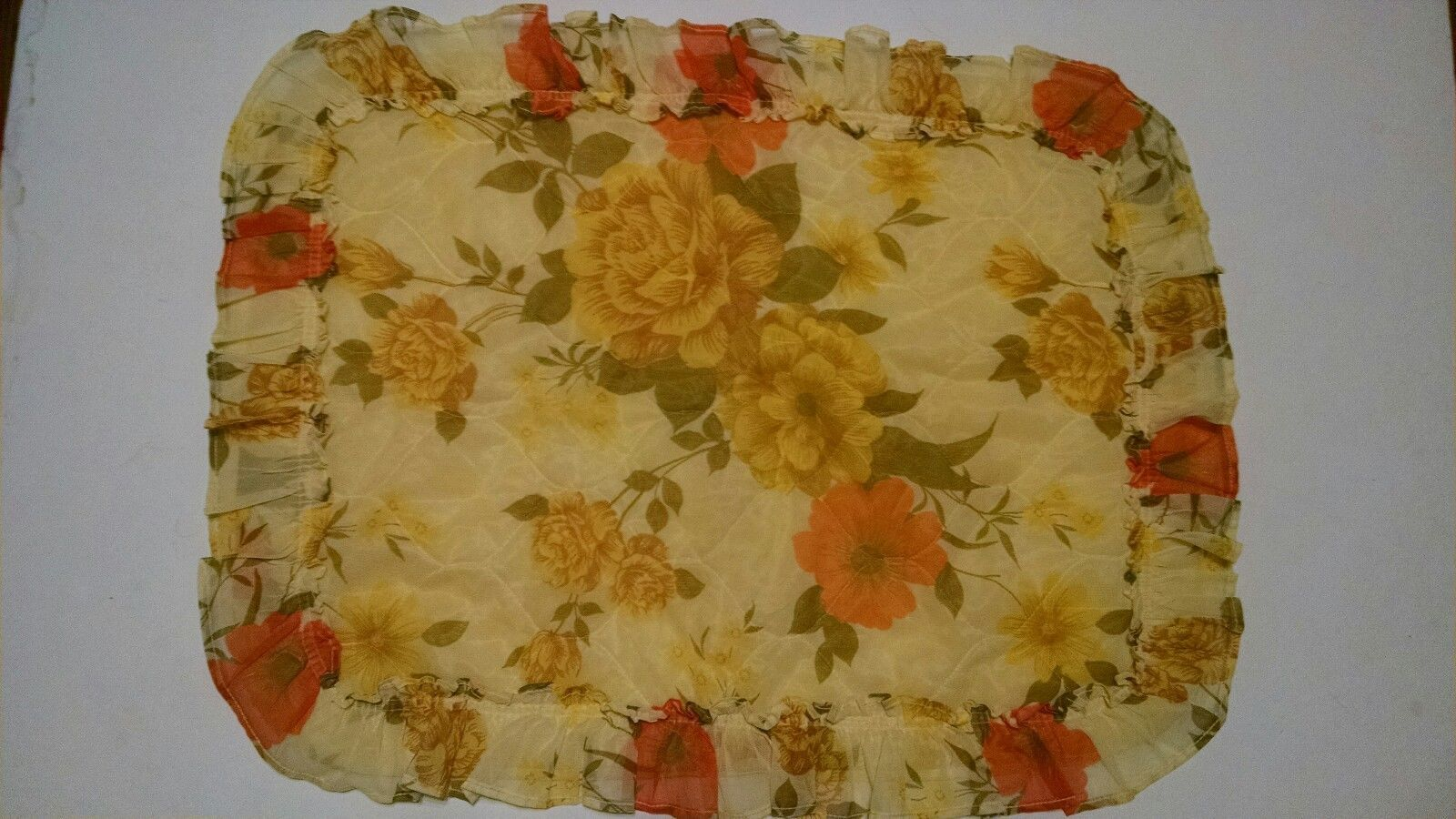 """2 Vintage Quilted Yellow Pillow Shams Yellow Orange Flowers Sheer Ruffles 25x18"""" - $18.56"""