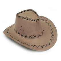 KLV 1Piece Mens Fashion Cowboy Hat Suede Look Wild West Fancy Dress Black Newest image 3