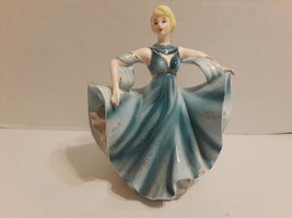 "Ceramic 10"" Figurine #895 Dancing Woman Blue Gown Vintage Planter - $17.72"