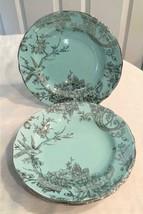 222 Fifth Porcelain Adelaide (4) Salad Dessert Plates Turquoise & Silver... - $39.59