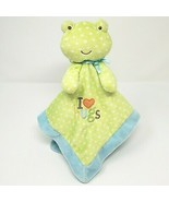 CARTER'S JUST ONE YEAR BABY GREEN FROG POLKA DOT SECURITY BLANKET I LOVE... - $36.47