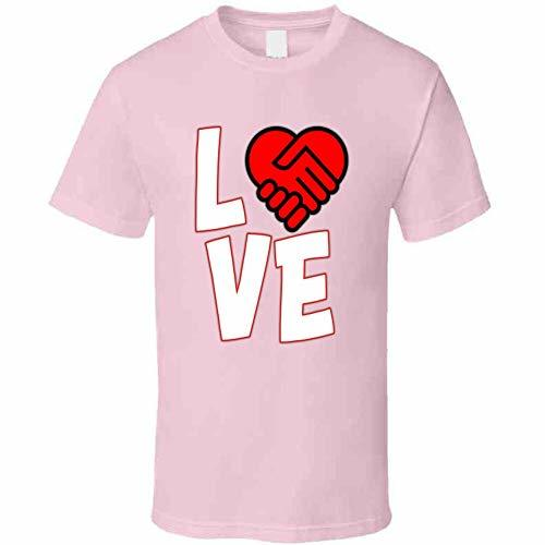 Love is A Deal Heart T Shirt L Light Pink