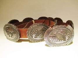 Navajo Bruce Morgan Sterling Silver STORYTELLER CONCHO BELT Native Ameri... - $4,200.00