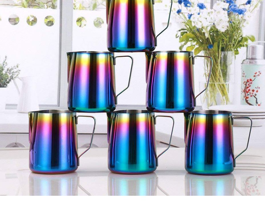 Milk Pitcher Frothing Cup Stainless Steel Coffee Jug Rainbow Espresso Latte Tea image 10
