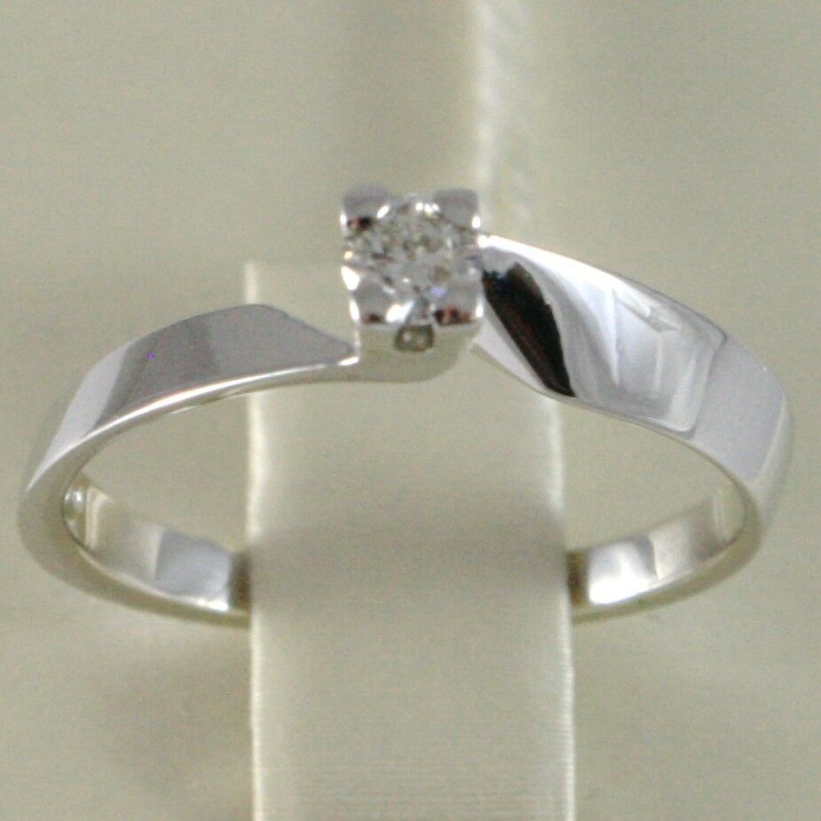 18K WHITE GOLD SOLITAIRE WEDDING BAND SQUARED RING DIAMOND 0.15 MADE IN ITALY