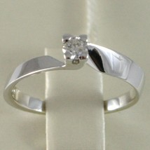 18K WHITE GOLD SOLITAIRE WEDDING BAND SQUARED RING DIAMOND 0.15 MADE IN ITALY image 1