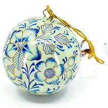 Asha Handicrafts Painted Papier-Mâché Blue & Gold Floral Christmas Ornament image 3