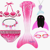 Kids Swimmable Mermaid Tail for Girls Swimming Monofin Fin Goggle with Garland - $36.99