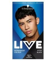 Schwarzkopf MEN Live Intense Colour Permanent Hair Dye PITCH BLACK Grey coverage - $14.39
