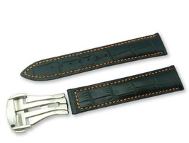 Black/Orange Cr Leather Watch Strap for Omega Seamaster Clasp 18 19 20 2... - $37.26+