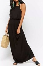 Forever 21 Soft Stretch Cami Strap Maxi Long Full Length Dress Black S NEW - $16.82