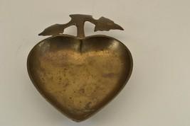 Vintage Heart Leaf Art Deco Bronze Brass Old Ash Tray Dish Ashtray Holde... - $26.99