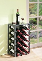 Pewter Finish Metal Wine Rack Holds 23 Bottles Glass Table Top Display S... - $87.02