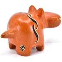 SMOLArt Hand Carved Soapstone Orange Hippopotamus Hippo Figurine Made in Kenya image 4