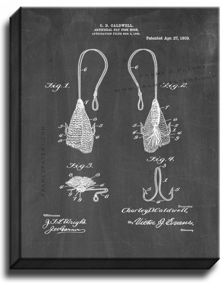 Primary image for Artificial-fly Fish-hook Patent Print Chalkboard on Canvas