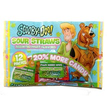 WORLD (1) 12pc Bag SCOOBY-DOO! SOUR STRAWS Fruit Flavor Candy EASTER Exp... - $3.29