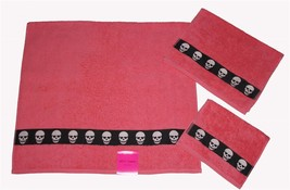 3 Betsey Johnson Totally Skulls Coral Skull Bath/Hand/Fingertip Towels Nwt - $39.99