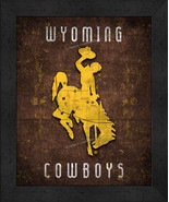 "Wyoming Cowboys ""Retro College Logo Map"" 13x16 Framed Print  - $39.95"