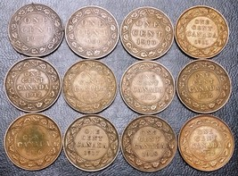 Collection of 12x Canada Large Cent Coins - Dates: 1901 to 1919 - $14.55