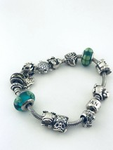 "Pandora Sterling Silver Charms Bracelet 13 Charms 7.5""inch Long - $237.59"